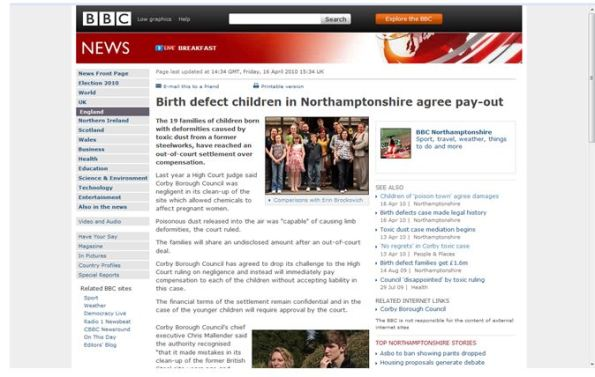 Corby BBC page